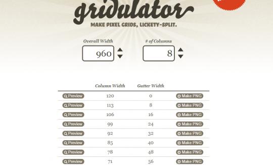 好みのピクセル値とカラム数でグリッドを生成できる Gridulator