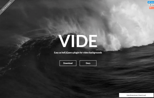 Vide easy as hell jQuery plugin for video backgrounds