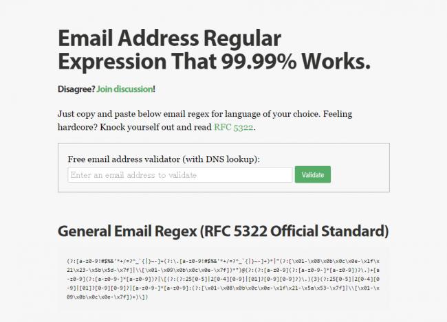 Email Address Regular Expression That 99.99 Works.