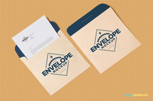 Free Unique Squared Shaped Envelope PSD Mockup + Letterhead Mockup