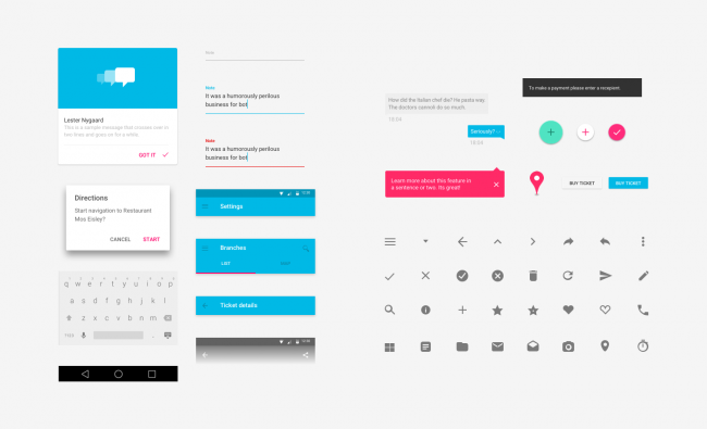 Android Lollipop Material Design UI kit for Sketch