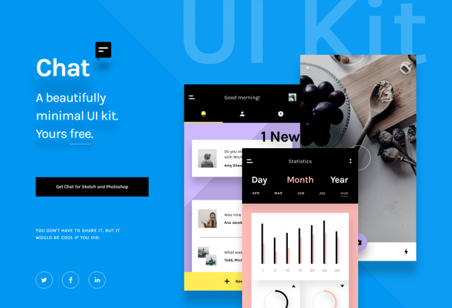 Free Chat UI kit for Photoshop and Sketch