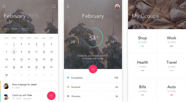 Free to-do app UI kit for Photoshop and Sketch