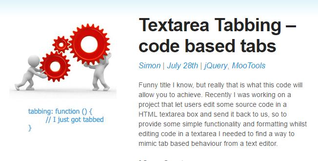 textareaでタブ入力を有効にするJavaScript「Textarea Tabbing」