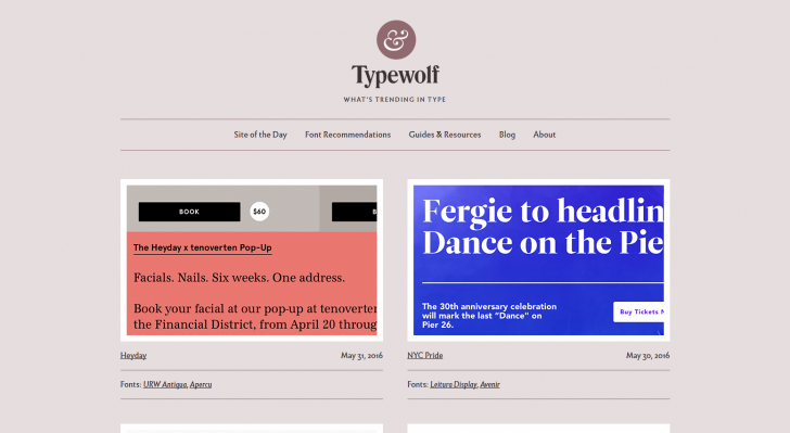Typography Inspiration for the Modern Web → Typewolf