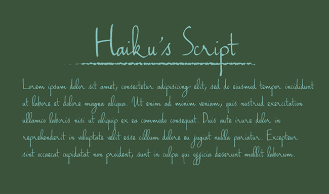 Haiku's Script Font