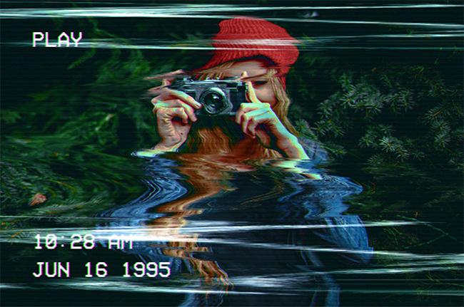 写真を歪んたビデオテープのように加工