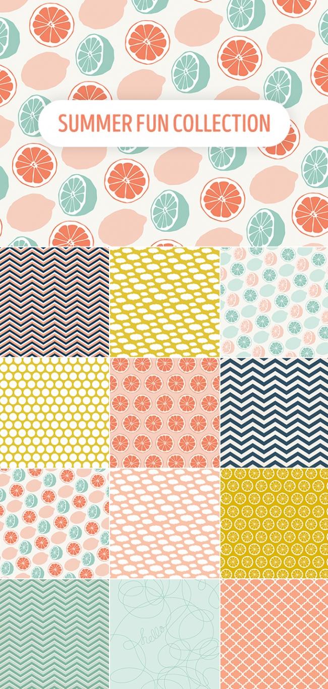 夏らしいデザインのシームレスな背景パターン素材