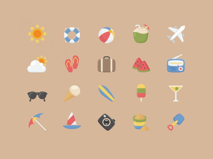 ココナッツ、サーフボードなど、夏のカラフルなアイコン