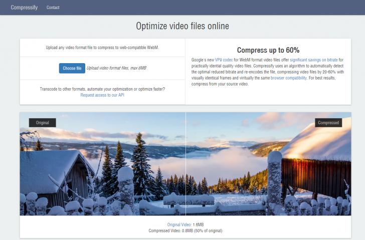 どんなフォーマットの動画でもWebM形式に変換して最大60%圧縮できるオンライン動画最適化サービス「Compressify」