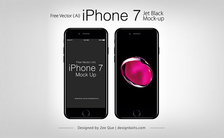 Free Vector Apple iPhone 7 Jet Black Mock-up In Ai & EPS Format(AI, EPS)