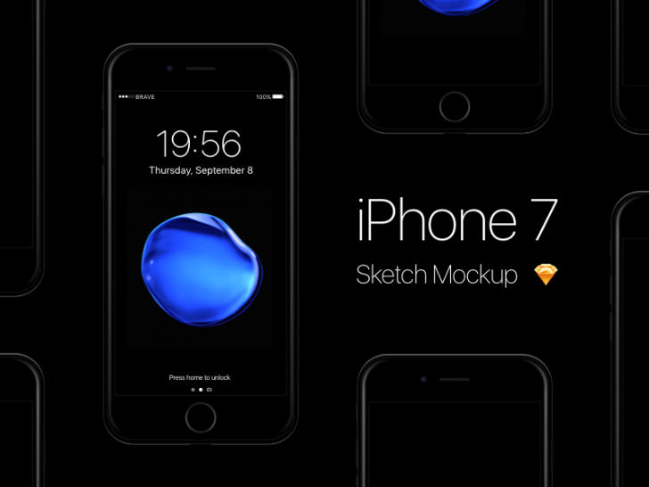 Free iPhone 7 - Jet Black Sketch Mockup(Sketch)