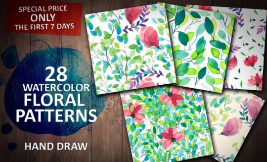 水彩で描いた花模様のパターン素材
