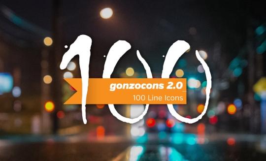 Webフォントとして使えるクリエイター向けのアイコンフォント100個セット「gonzocons 2.0」(ttf, eot, woff, SVG)