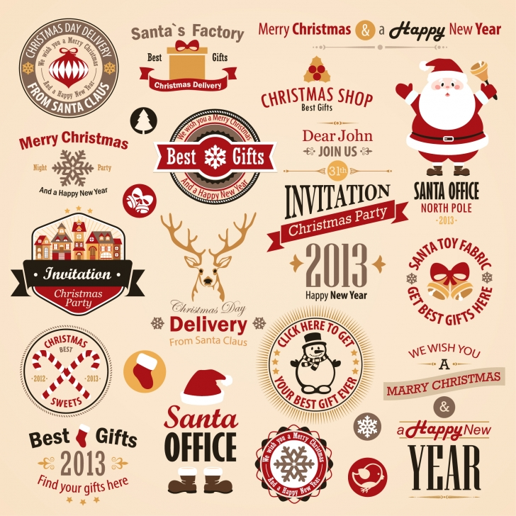 Free EPS file Different vintage Christmas labels elements vector set 01