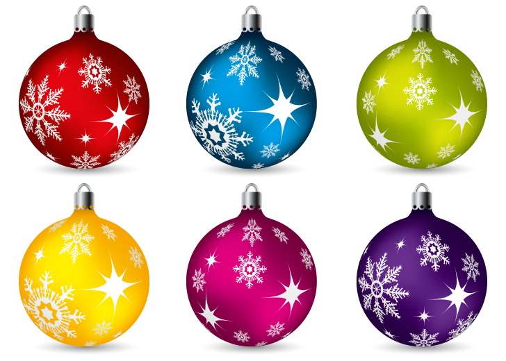 Christmas Balls Ornaments Vector Clip Art