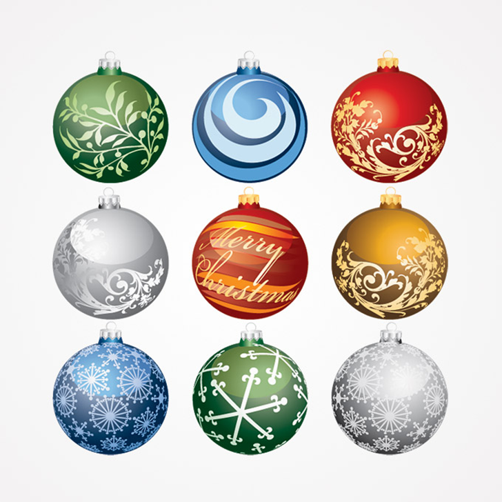 Christmas Balls Ornaments Vector Set