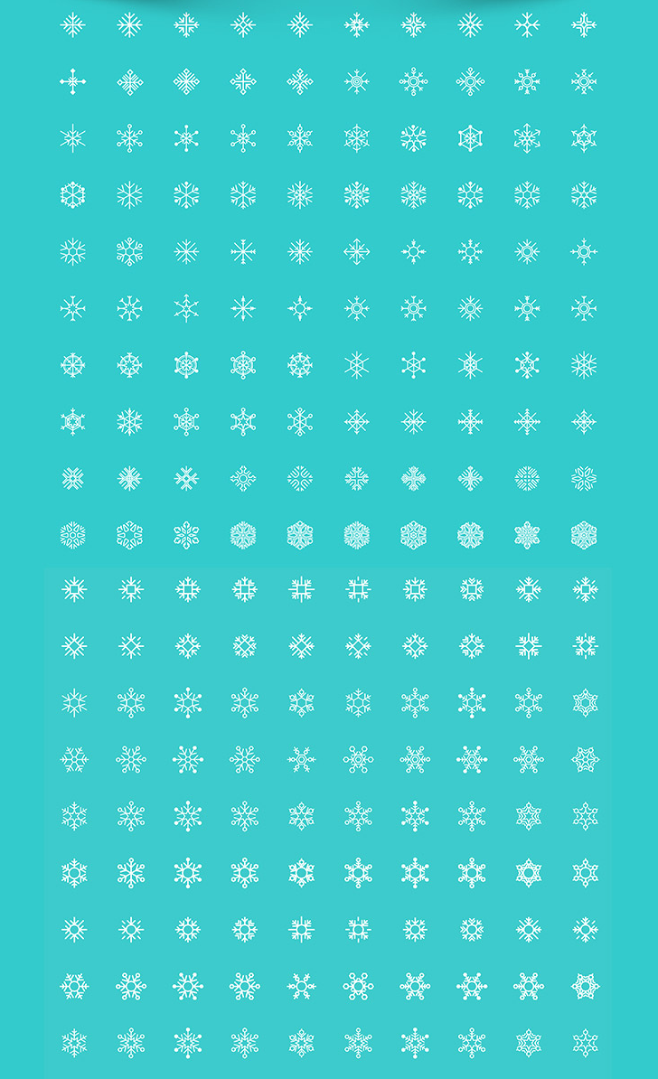 200 Free Snow Flakes in vector format