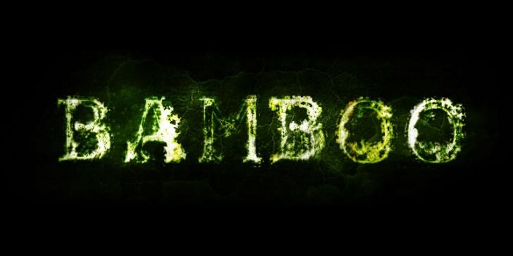 緑色に燃えるガラスのような文字