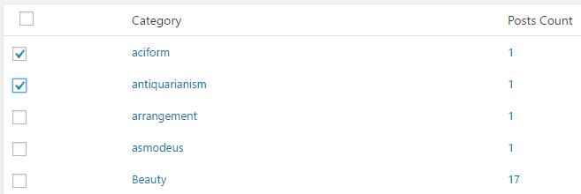 記事一覧の下にカテゴリの一覧が表示されているので、外したいカテゴリにチェックを入れます。