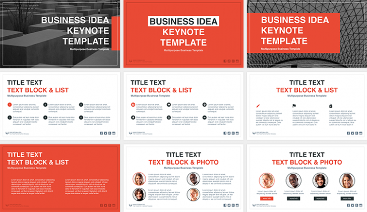 オレンジベースの「Business Idea free Keynote template」
