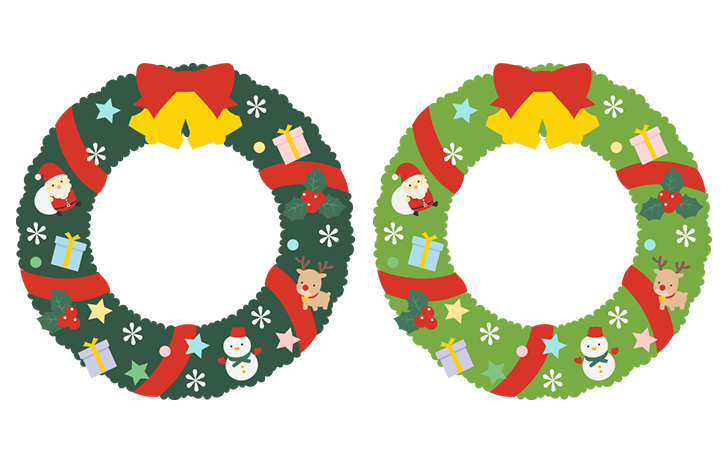 クリスマスリースのフレーム飾り枠