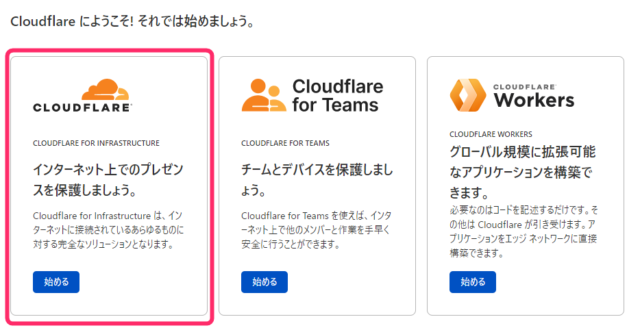 Cloudflareのサービス選択画面