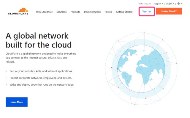 Cloudflareのトップページ